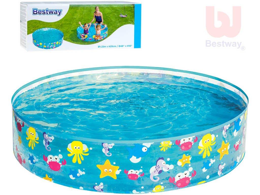 BESTWAY Bazén samostojný kulatý 122cm mořský svět 55028