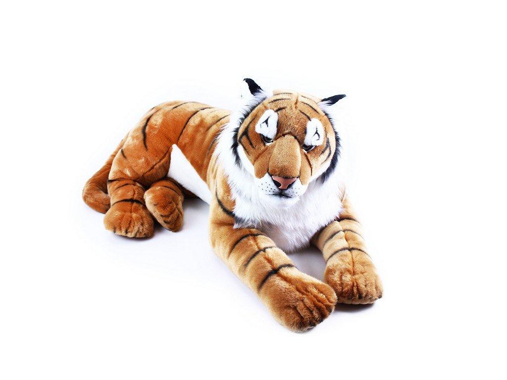 Velký plyšový tygr ležící 92 cm  + Dárek zdarma