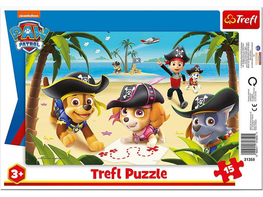 TREFL Puzzle deskové Tlapková Patrola piráti 33x23cm skládačka v rámečku 15 dílků