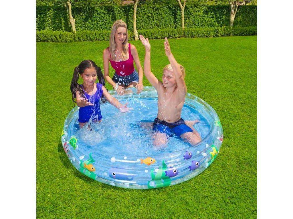 BESTWAY Bazén nafukovací kruhový 152x30cm transparentní moře 51004