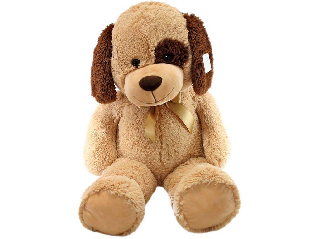 PLYŠ Pes béžový sedící 90cm s flíčkem *PLYŠOVÉ HRAČKY*