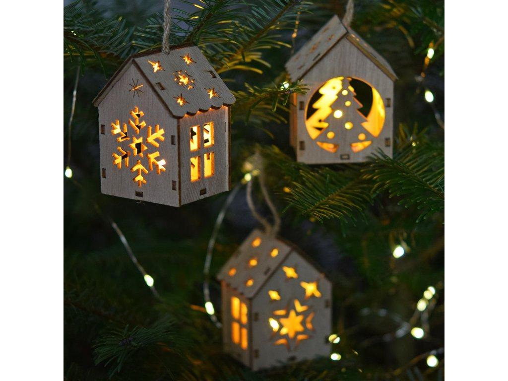 LED závěsné domečky - 5 motivů na výběr merry Christmas motiv