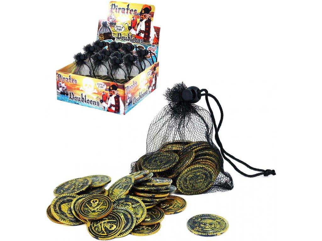 KARNEVAL Mince pirátské zlaté v síťce dospělé KARNEVALOVÝ DOPLNĚK