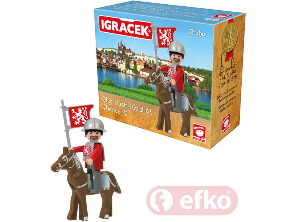 EFKO IGRÁČEK Karel IV. Praha set s koněm a doplňky v krabičce STAVEBNICE