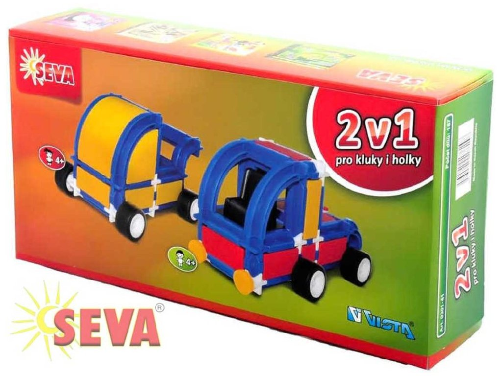 SEVA 2v1 Kočárek Tahač polytechnická STAVEBNICE 167 dílků