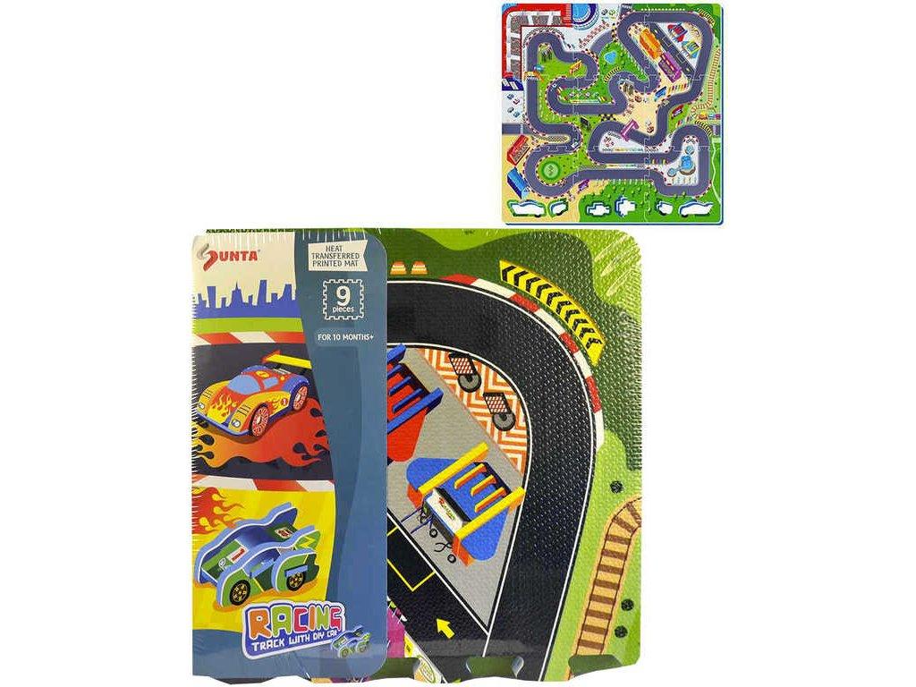 Baby puzzle pěnový koberec na zem autodráha 92x92cm set 9ks měkké bloky