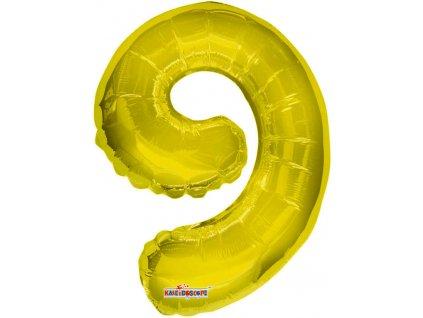 Party balonek nafukovací 35cm Číslice 9 zlatý malý foliový plnění vzduchem