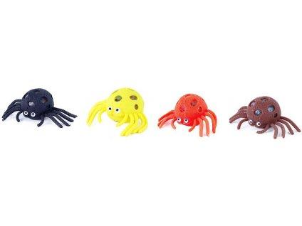 Míček měkký mačkací bublinový 6cm Pavouk antistresový různé barvy