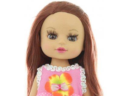 Panenka růžové šatičky 34cm tvrdé tělíčko v oblečku na suchý zip