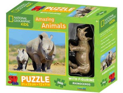 PUZZLE 3D Skládačka Nosorožec 31x23cm set 100 dílků s figurkou National Geographic