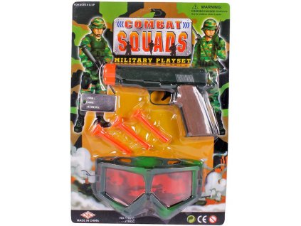 Pistole plastová se soft náboji vojenský army set s krytem na oči a známkou