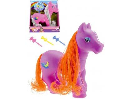 Pony s česací hřívou set plastový barevný koník s doplňky různé barvy