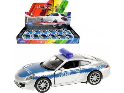 WELLY Auto model Porsche 911(991) Carrera S policie 12cm volný chod