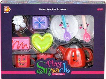 Veselý čajový set dětské nádobí s dortíky s obličejem plast v krabici