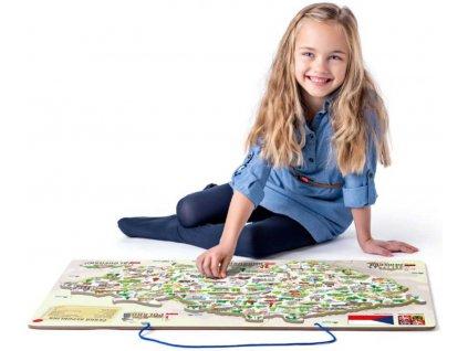 DŘEVO Mapa ČR magnetická 3v1 puzzle + společenská hra + didaktická pomůcka