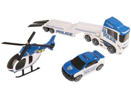 Teamsterz policejní tahač set s autem a vrtulníkem na baterie plast Světlo Zvuk  + Nanopodložka, loupač, nebo desinfekce