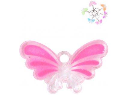Přívěšek na klíče motýlek krystal s třpytkami různé barvy plast
