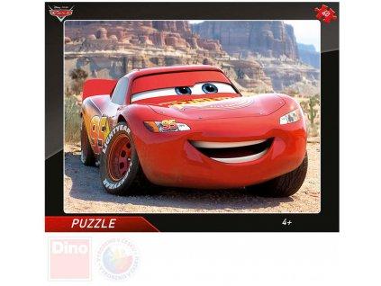 DINO Puzzle deskové 32x24cm Blesk McQueen Cars (Auta) v rámečku 40 dílků
