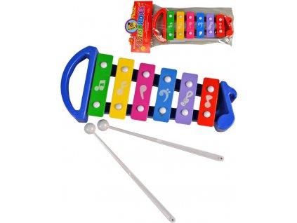 Xylofon dětský barevný 25cm set se 2 paličkami kov *HUDEBNÍ NÁSTROJE*