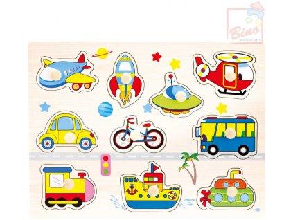 BINO DŘEVO Baby puzzle doprava 10 dílků vkládačka pro miminko
