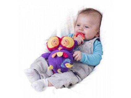 NINY PLYŠ Baby sovička mazlící chrastící Hoku 17cm s klipem pro miminko