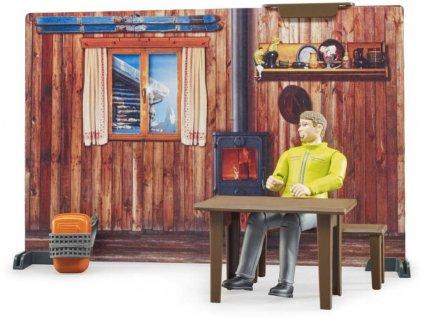 BRUDER 63102 Horská chata herní set se skútrem a figurkou