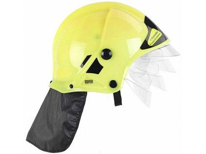 KLEIN Helma dětská hasičská žlutá s krytem na oči svítí ve tmě plast