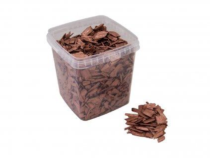 Dekorační dřevěné štěpky, měděná barva, 5.5 litru