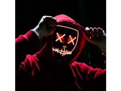 Maska se světelným efektem - The Purge (Růžovo-bílá)