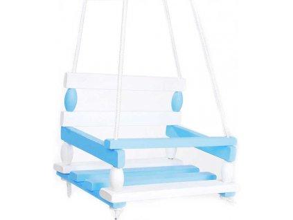 DŘEVO Houpačka dětská bílo-modrá 38x30cm klučičí v sáčku
