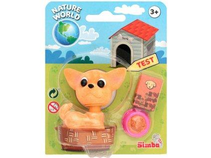 SIMBA Pejsek s kývací hlavou 7cm herní set s miskou a hračkou 3 druhy
