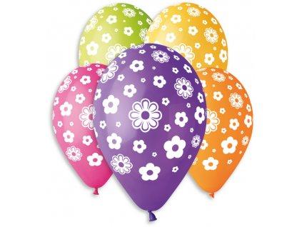 GEMAR Balónek nafukovací 30cm potisk KVĚTINY set 5ks různé barvy v sáčku