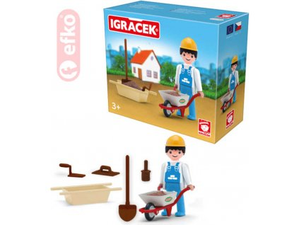 EFKO IGRÁČEK Zedník se stavebními kolečky a doplňky v krabičce STAVEBNICE