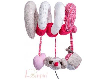 LUMPIN PLYŠ Baby spirála růžová Kočka Angelique s hračkami pro miminko