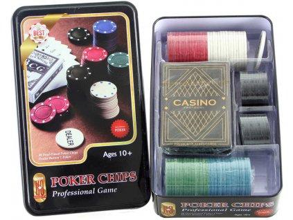 Hra karetní Poker set karty s žetony v plechové krabičce