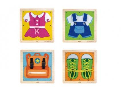 Dřevěná nástěnná hra oblékání/zapínání  + Nanopodložka, loupač, nebo desinfekce