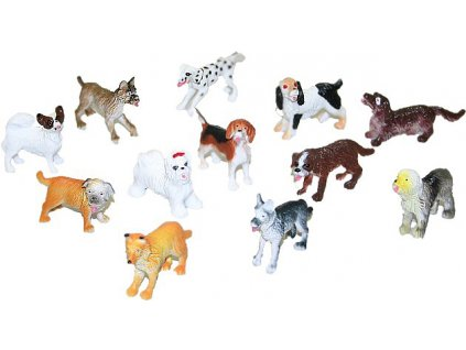 Psi různé rasy plastové figurky 4-5cm set 12ks v sáčku