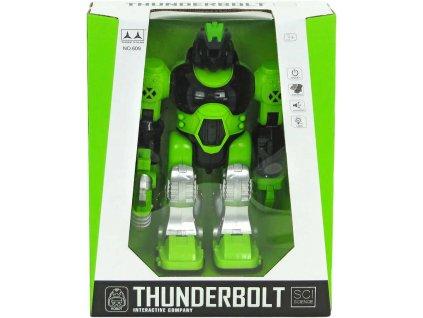 PL Robot chodící 25cm se zbraní na baterie Světlo Zvuk plast v krabici