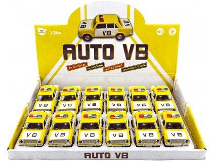 Auto 12cm retro policie VB Lada VAZ 1200 na baterie zpětný nátah Světlo Zvuk kov