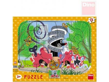 DINO Puzzle tvary (Krteček) Krtek opravář vkládačka 12 dílků 30x23cm