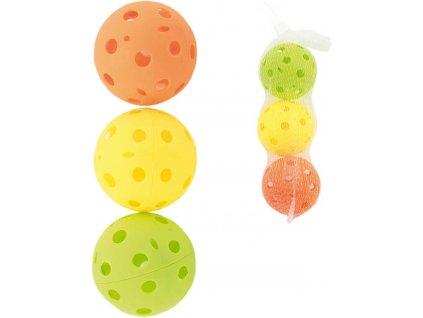 Míček barevný florbalový 7cm set 3ks floorball 3 barvy v sáčku plast