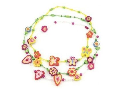 DŘEVO Korálky veselé barevné 20cm dětský náhrdelník *DŘEVĚNÉ HRAČKY*