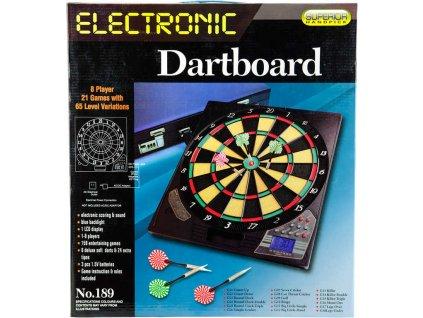Hra terč elektronický 42cm 21 her + 6 šipek na baterie / adaptér plast Zvuk  + Dárek zdarma