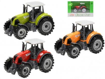 Traktor farmářský 9,5cm kovový 3 barvy v krabičce