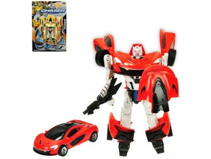 Auto sportovní/robot s transformací 21cm transrobot 2 barvy plast