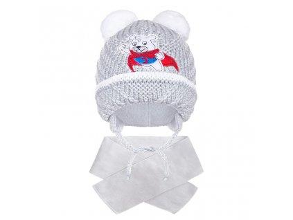 Zimní dětská čepička se šálou New Baby medvídek J