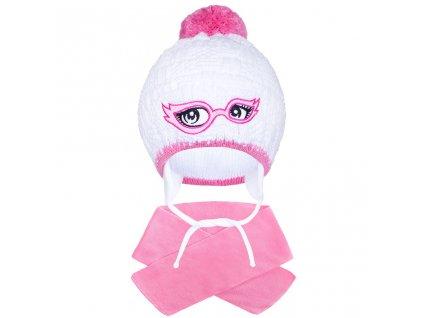 Zimní dětská pletená čepička se šálou New Baby