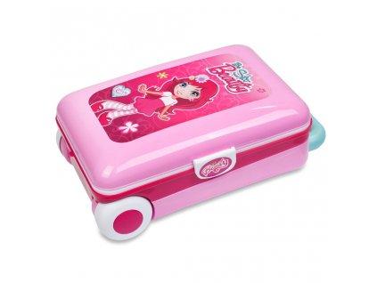 Dětský toaletní stolek v kufříku 2v1 Bayo - růžová