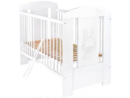 Dětská postýlka New Baby Králíček standard - bílá  + Nanopodložka, loupač, nebo desinfekce