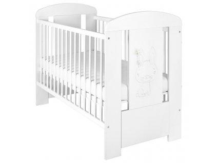Dětská postýlka New Baby Králíček se šuplíkem - bílá  + Dárek zdarma